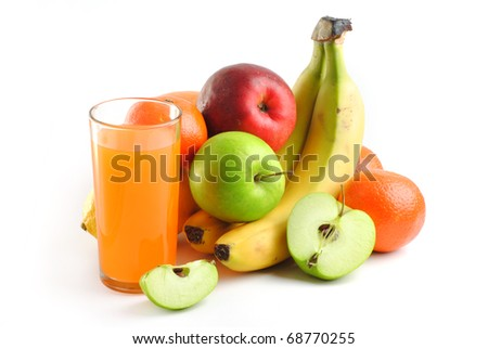 juice with multiple fruits isolated on white