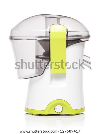 Juicer with two fresh oranges isolated on white background
