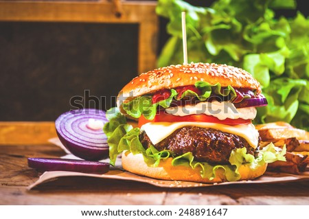 Juicy and fragrant hamburger with fries homemade copy space for your text.