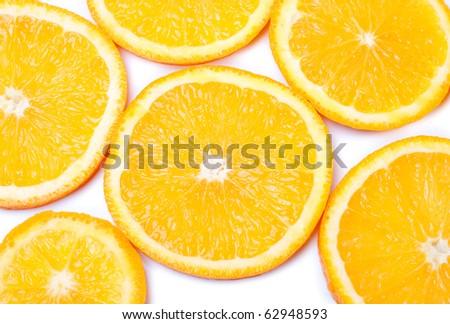 Juicy and fresh slice of orange on white isolated background. / Orange slices