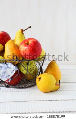 juicy apples and pears, food closeup