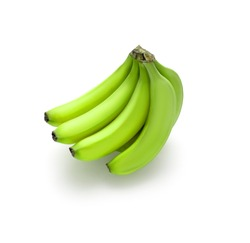 Juicy beautiful fresh green bunch of bananas lie on a white background with a shadow