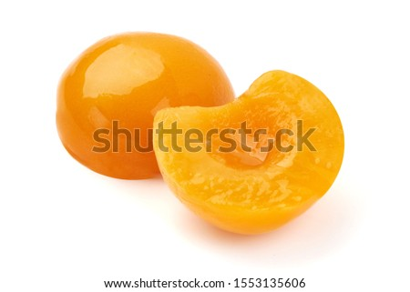 Juicy canned peach halves, isolated on white background. Photo stock ©