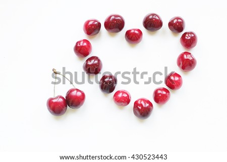 juicy cherries on a white background #430523443