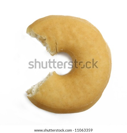 Juicy doughnut with missing bite isolated on white background