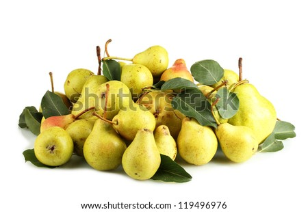 Juicy flavorful pears hill isolated on white