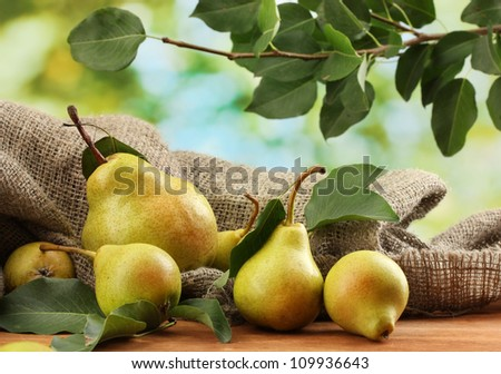 Juicy flavorful pears of nature background