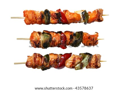 Juicy fresh cooked kabobs isolated on white background.