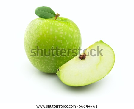 Juicy green apple with leaves