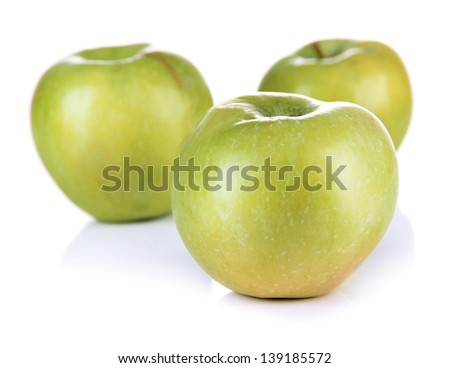 Juicy green apples, isolated on white