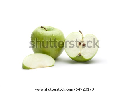Juicy green apples on the white background - stock photo