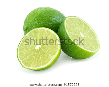 Juicy green lime isolated on white background.