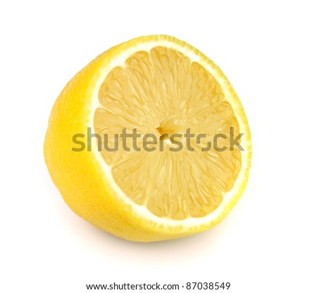 Juicy half of a lemon on a white background