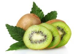 Juicy kiwi fruit and leaves isolated on white