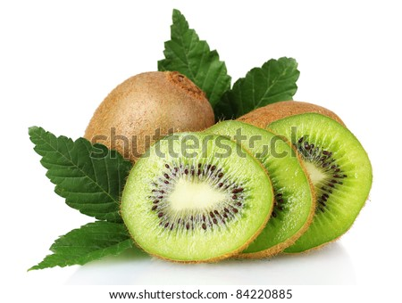 Juicy kiwi fruit and leaves isolated on white
