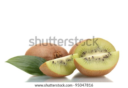 Juicy kiwi fruits with leaves isolated on white