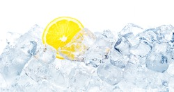 Juicy lemon in ice cubes background.