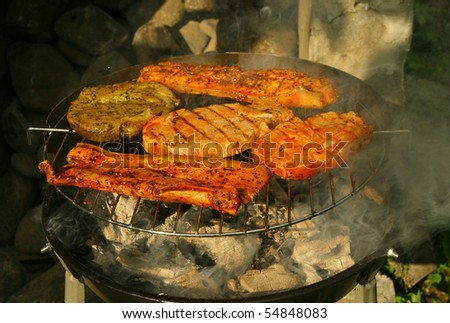 Juicy meat on the barbeque