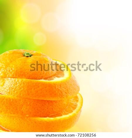 juicy orange cut into slices