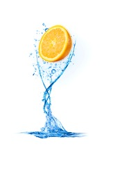 Juicy orange in water splash.