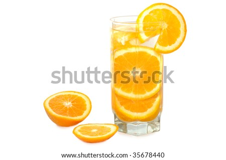 Juicy oranges in glass on isolated background.