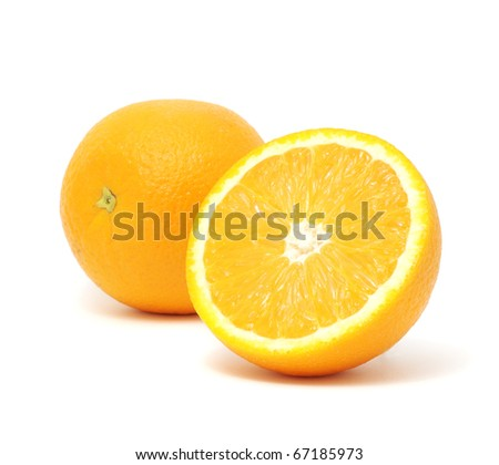 Juicy Oranges Isolated on White Background