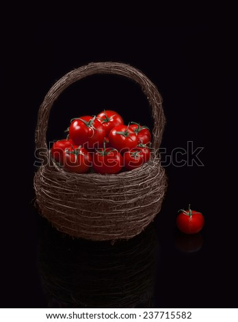 Juicy organic Cherry Tomatoes Basket Cherry tomatoes are perfect for salads, soups, sandwiches, or just popped into your mouth for a tasty, healthy snack.