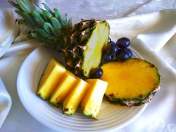 Juicy pineapple with grape