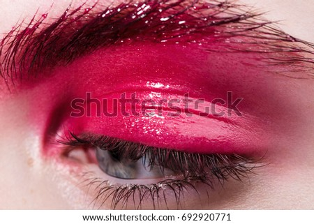 juicy pink eye closeup macro beauty makeup  #692920771