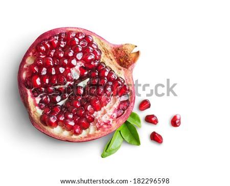 Juicy pomegranate fruit isolated on white background