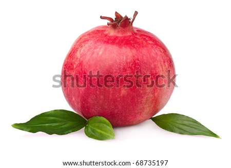 Juicy pomegranate with leaves. Isolated on a white background