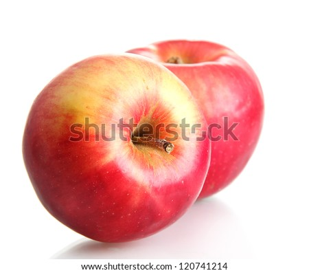 juicy red apples isolated on white