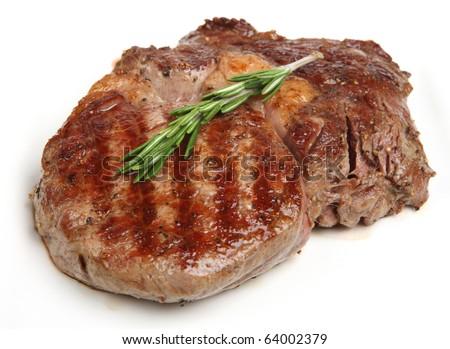 Juicy rib-eye beef steak.