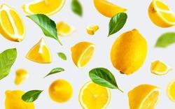 Juicy ripe flying yellow lemons, green leaves on light gray background. Creative food concept. Tropical organic fruit citrus vitamin C. Lemon slices Summer minimalistic bright fruit background Pattern