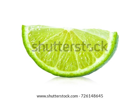 Juicy slice of lime isolated on white background #726148645