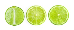Juicy slice of lime isolated on white background . top view