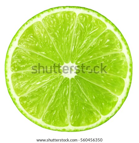 Juicy slice of lime isolated on white, with clipping path #560456350