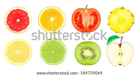 juicy slices of fruit on a white background #184759064