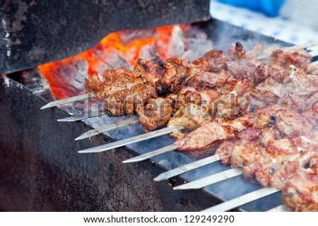 Juicy slices of meat with sauce prepare on fire (shashlik)