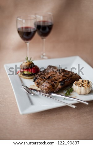 juicy steak with wine