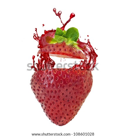 juicy strawberries and strawberry juice splash on white background