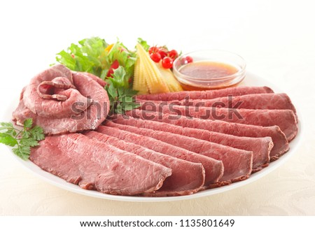 Juicy thin sliced roast beef