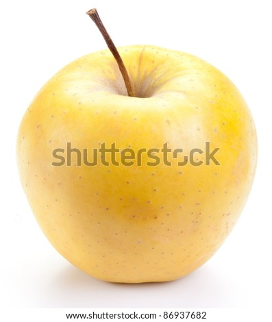 Juicy yellow apple, isolated on a white background.