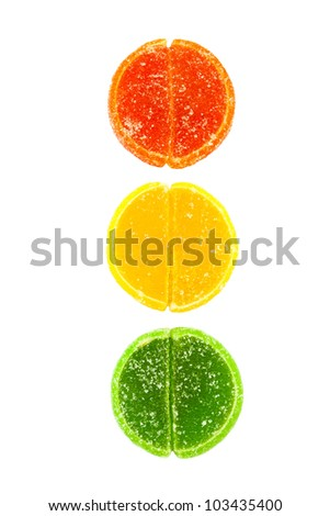 jujube traffic lights on white background