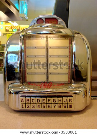 Juke Box in a Fifties Style Diner - stock photo