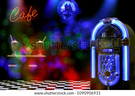 Jukebox in Cafe with Neon Signs Miniature Photography With Neon Composites #1090906931