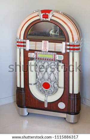 Jukebox Replica Automated Music Player in Corner #1115886317