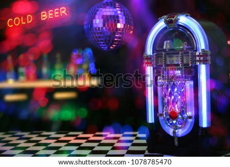 Jukebox with Neon Cold Beer Sign. Miniatures with signs and lights added in post. #1078785470