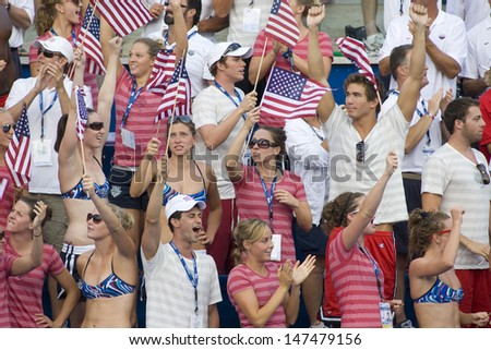 Jul 02 2009; Rome Italy; Team members of Team USA celebrate Team USA winning the mens 4 x 100m medley final at the 13th Fina World Aquatics Championships held in the The Foro Italico Swimming Complex