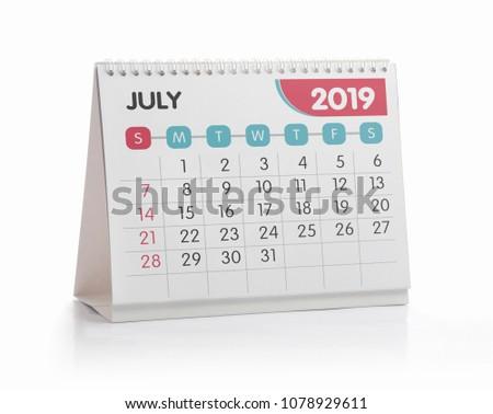 Jul White Office Calendar 2019 Isolated on White #1078929611